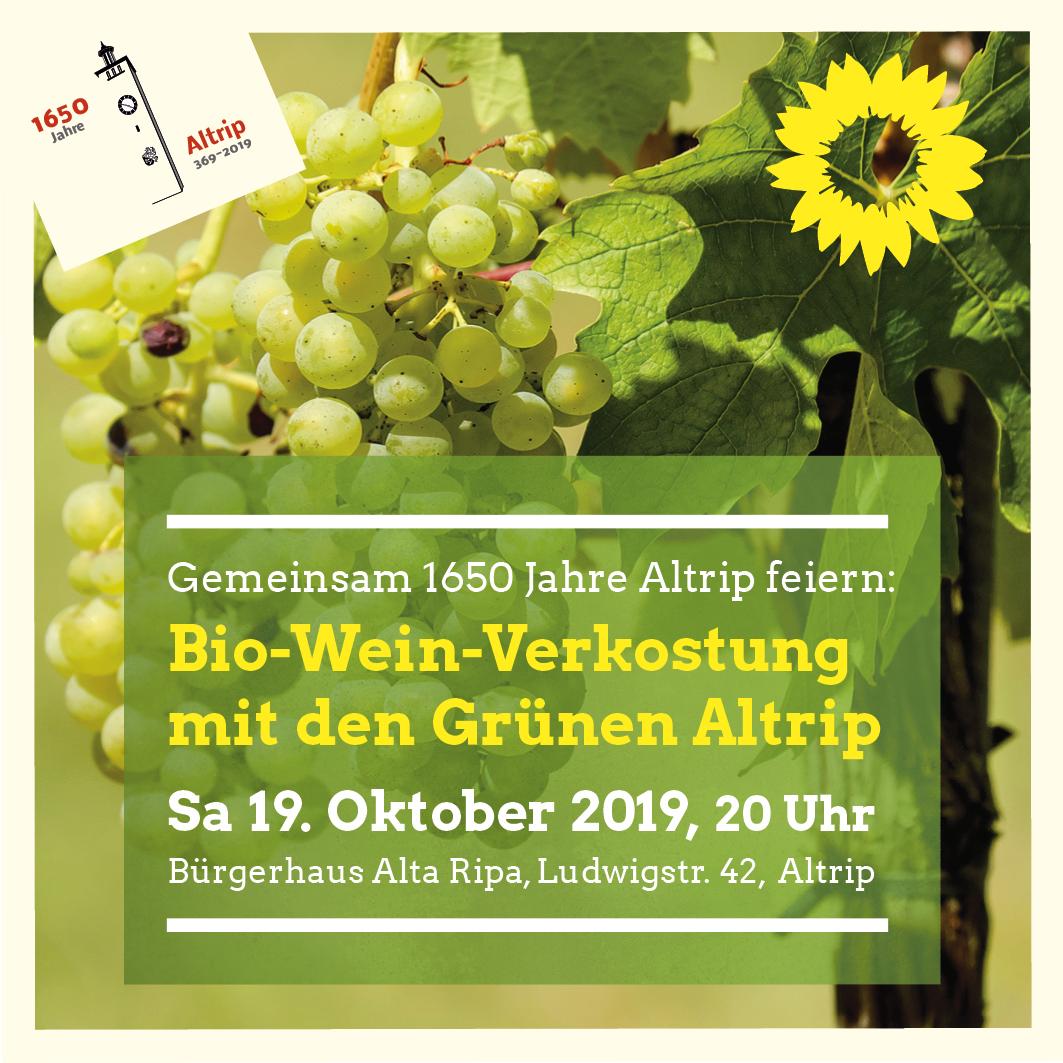 Komm zur Bio-Weinverkostung mit den Grünen Altrip!